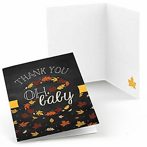 Oh Baby - Fall - Baby Shower Thank You Cards - 8 ct
