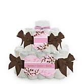 Baby Cherry Blossom - 2 Tier Personalized Square Baby Shower Diaper Cake