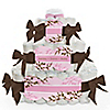 Baby Cherry Blossom - Personalized Baby Shower Square Diaper Cakes - 3 Tier