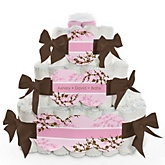 Baby Cherry Blossom - 3 Tier Personalized Square Baby Shower Diaper Cake