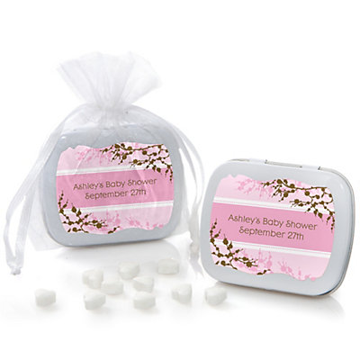 Baby Cherry Blossom - Mint Tin Personalized Baby Shower Favo...