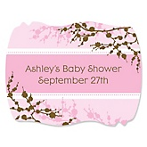 Baby Cherry Blossom - Personalized Baby Shower Squiggle Sticker Labels - 16 Count