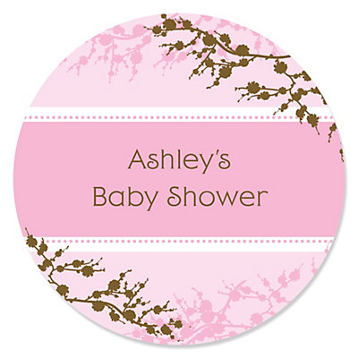 baby cherry blossom personalized baby shower round sticker labels