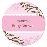 Baby Cherry Blossom - Personalized Baby Shower Round Sticker Labels - 24 Count