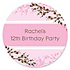 Cherry Blossom - Personalized Birthday Party Sticker Labels - 24 ct