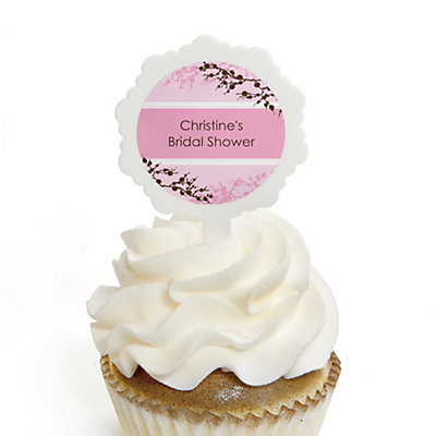 Cherry Blossom - Personalized Bridal Shower Cupcake Pick and Sticker Kit - 12 ct