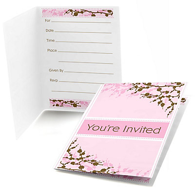 Cherry blossom bridal shower fill in invitations 8 ct for Bridal shower fill in invitations