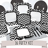 Black and White Chevron - 16 Person Baby Shower Kit