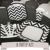 Black and White Chevron - 8 Person Baby Shower Kit