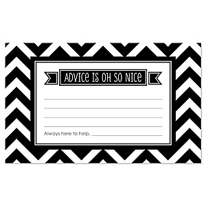 Black and White Chevron - Baby Shower Helpful Hint Advice Cards Game - 18 Count
