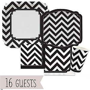 Black and White Chevron - Baby Shower Tableware Bundle for 16 Guests