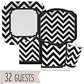 Black and White Chevron - Baby Shower Tableware Bundle for 32 Guests