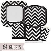 Black and White Chevron - Baby Shower Tableware Bundle for 64 Guests