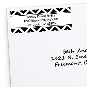 Black and White Chevron - Personalized Baby Shower Return Address Labels - 30 ct