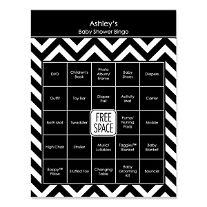Black and White Chevron - Bingo Personalized Baby Shower Games - 16 Count
