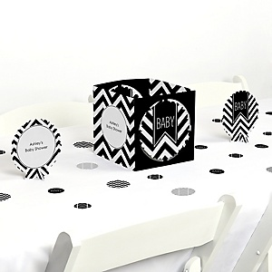Chevron Black and White - Baby Shower Centerpiece & Table Decoration Kit
