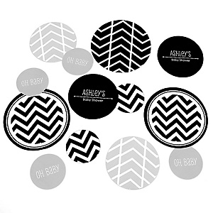 Black and White Chevron - Personalized Baby Shower Table Confetti - 27 ct