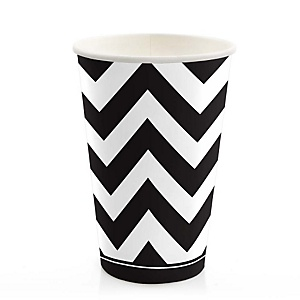 Black and White Chevron - Baby Shower Hot/Cold Cups - 8 Pack