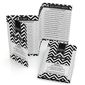 Black and White Chevron - Fabulous 5 Personalized Baby Shower Games