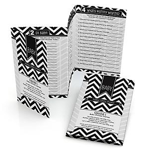 Chevron Black & White - Personalized Baby Shower Fabulous 5 Games