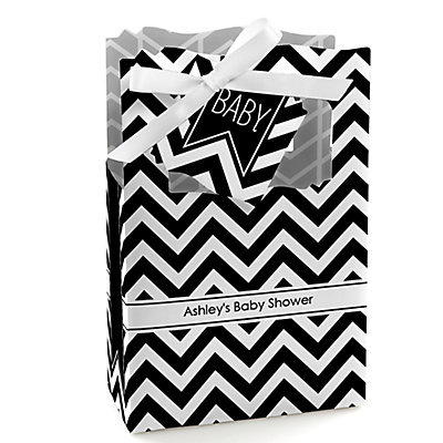 Black and White Chevron - Personalized Baby Shower Favor Box...