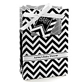 Chevron Black and White - Personalized Baby Shower Favor Boxes