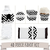 Black and White Chevron - Do It Yourself 40 Piece Personalized Party Kit