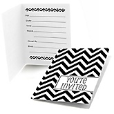Black and White Chevron - Fill In Baby Shower Invitations - Set of  8