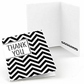 Black and White Chevron - Baby Shower Thank You Cards - Set of  8
