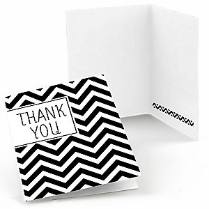 Chevron Black and White - Baby Shower Thank You Cards - 8 ct
