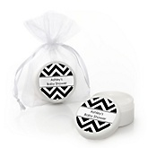 Chevron Black and White - Personalized Baby Shower Lip Balm Favors