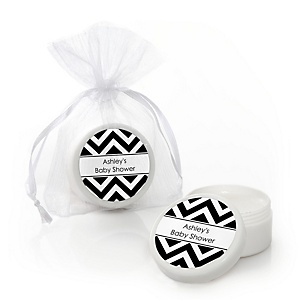 Black and White Chevron - Lip Balm Personalized Baby Shower Favors