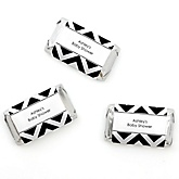 Black and White Chevron - Personalized Baby Shower Mini Candy Bar Wrapper Favors - 20 ct