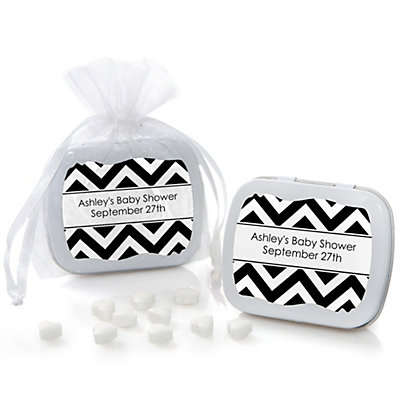 Black and White Chevron - Mint Tin Personalized Baby Shower ...