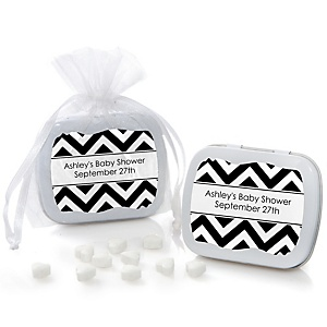 Chevron Black and White - Personalized Baby Shower Mint Tin Favors