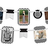 Chevron Black and White - Baby Shower Photo Garland Banners