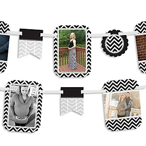 Black and White Chevron - Baby Shower Photo Bunting Banner