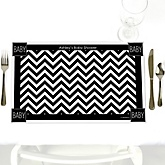 Black and White Chevron - Personalized Baby Shower Placemats