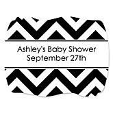 Chevron Black and White - Personalized Baby Shower Squiggle Stickers - 16 ct