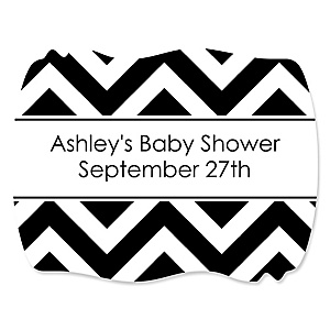 Black and White Chevron - Personalized Baby Shower Squiggle Sticker Labels - 16 Count