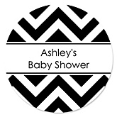 Black and White Chevron - Personalized Baby Shower Round Sticker Labels - 24 Count