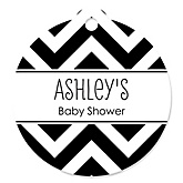 Black and White Chevron - Personalized Baby Shower Round Tags - 20 Count