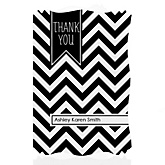Black and White Chevron - Personalized Baby Shower Thank You Cards