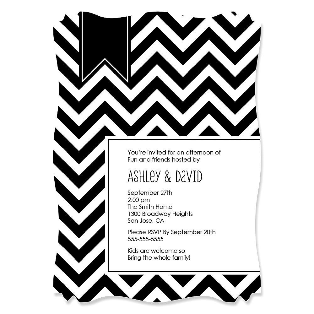 Chevron Black and White Everyday Party Theme – Black and White Theme Party Invitations