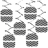 Chevron Black and White - Baby Shower Hanging Decorations - 6 ct