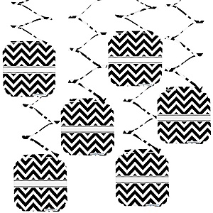 Black and White Chevron - Baby Shower Hanging Decorations - 6 Count