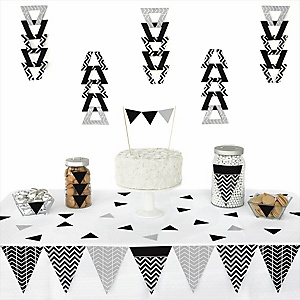 Black and White Chevron - Baby Shower Triangle Decoration Kits - 72 Count