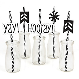 Chevron Black and White - Paper Straw Decor - Baby Shower or Birthday Party Striped Decorative Straws - Set of 24