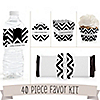 Chevron Black and White - 40 Piece Personalized Everyday Party Kit