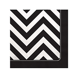 Black and White Chevron - Baby Shower Beverage Napkins - 16 Pack